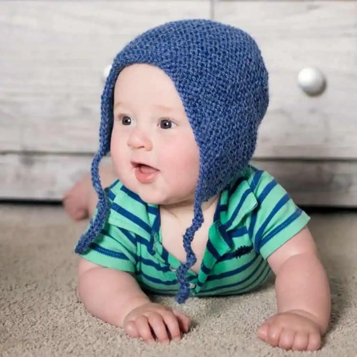 Flat Knit Baby Bonnet by Gina Michele