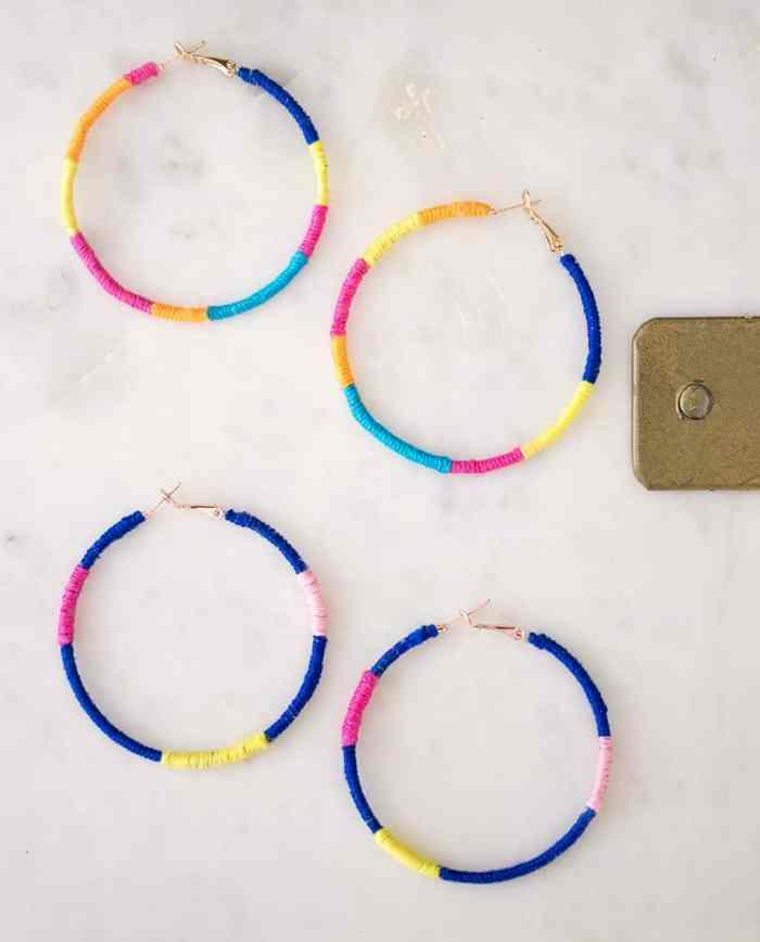 DIY Rainbow Wrapped Earrings