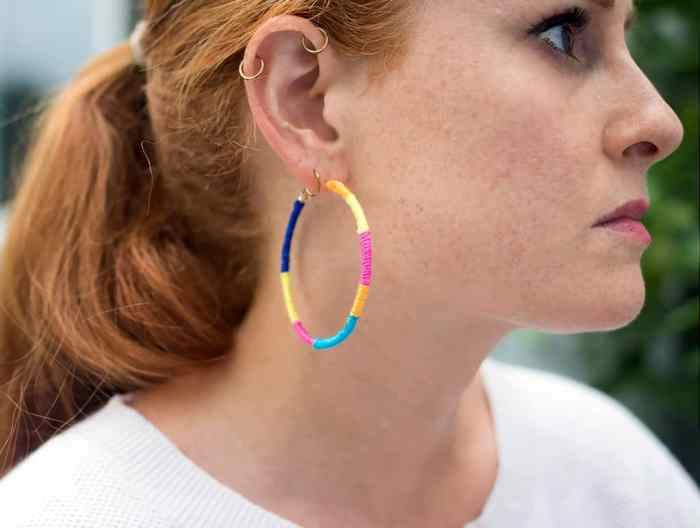 DIY Rainbow Wrapped Earrings