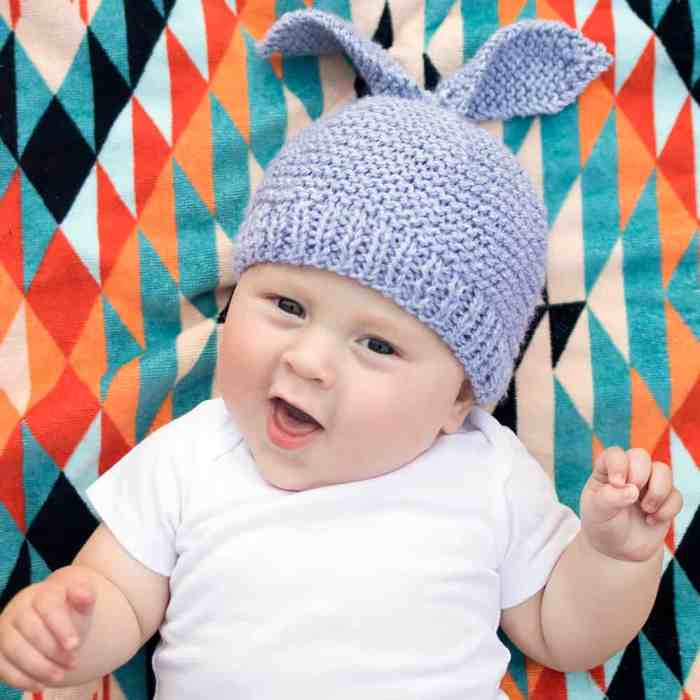 Flat Knit Baby Bunny Hat by blogger Gina Michele