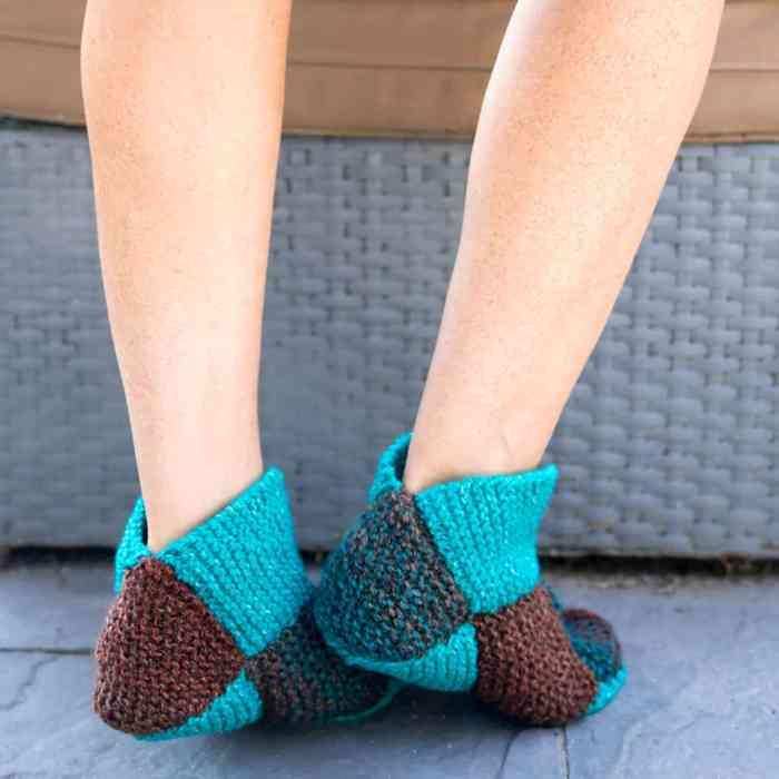 Origami Slippers Knitting Pattern