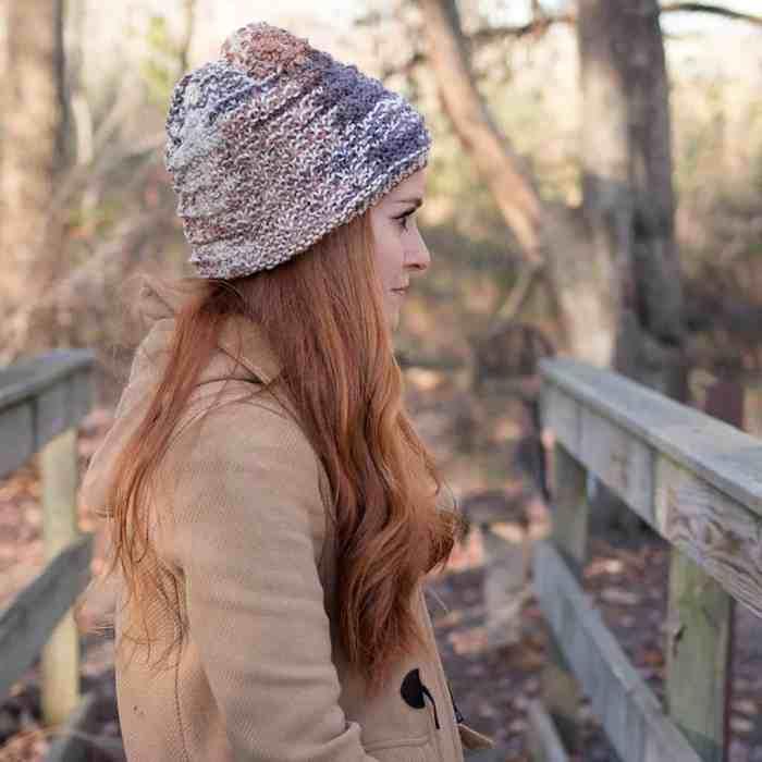 Flat Knit Slouch Hat Knitting Pattern