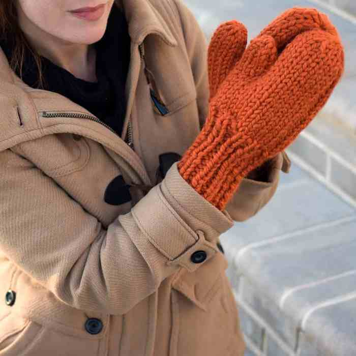 Easy Thick & Quick Mittens Knitting Pattern