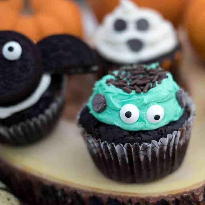 Easy Vegan Frankenstein Halloween Cupcakes