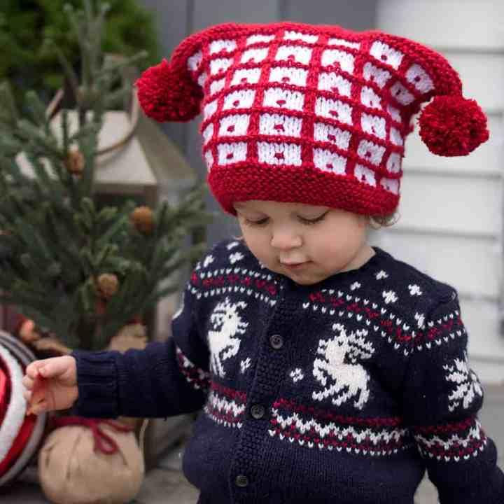Baby Checkered Hat Knitting Pattern