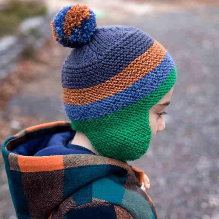 Scrap Yarn Flat Knit Hat for Kids