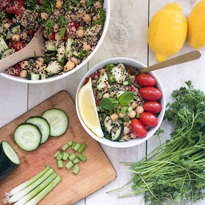 Vegan Quinoa Chickpea Tabbouleh Salad with Lemon Mint Dressing