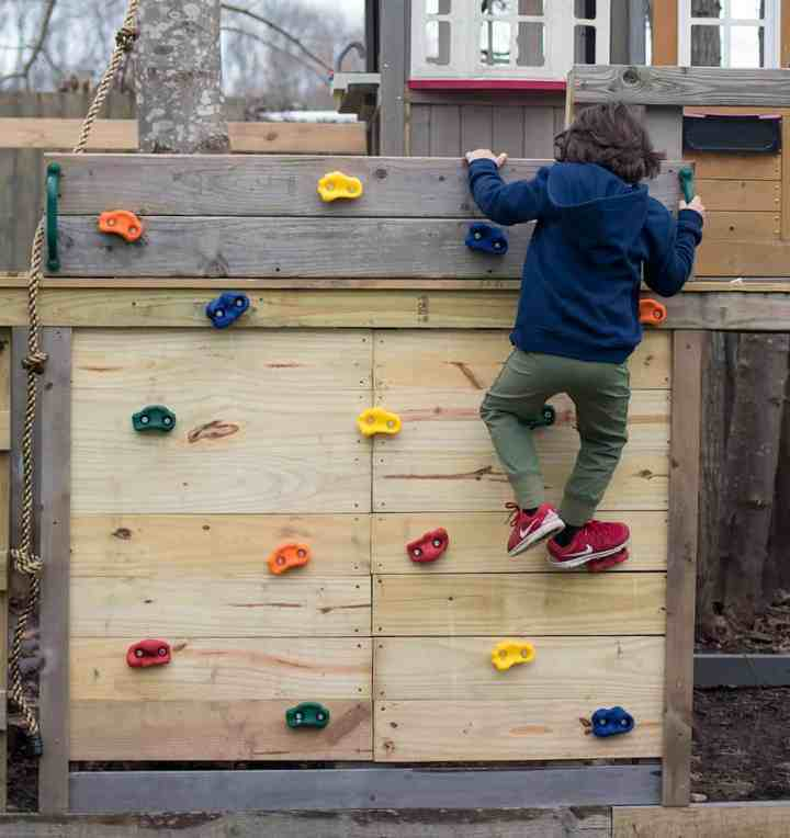 Easy DIY Kids Climbing Wall for a Treehouse