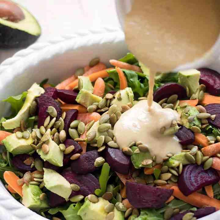 Easy Vegan Avocado Salad with Tahini Dressing