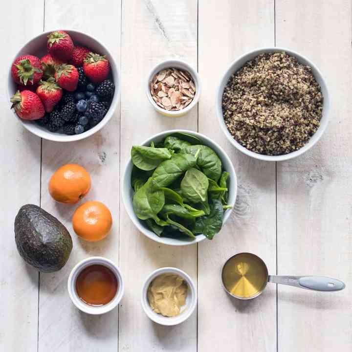 Vegan Berry Quinoa Spinach Salad
