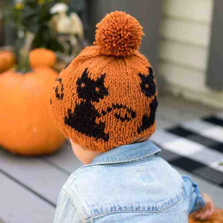 Kids Black Cat Hat Knitting Pattern
