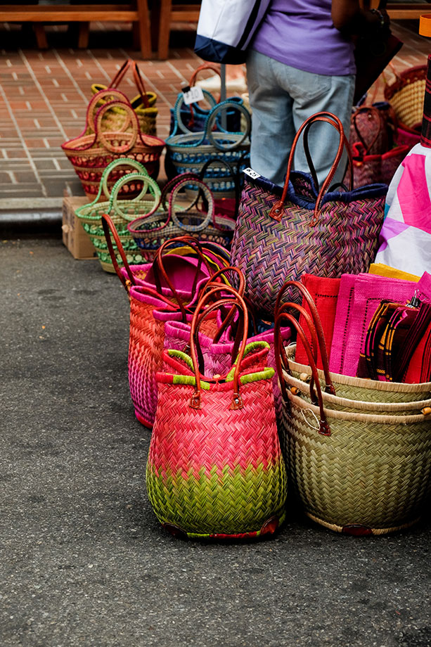 hand woven baskets in Union Square, NYC