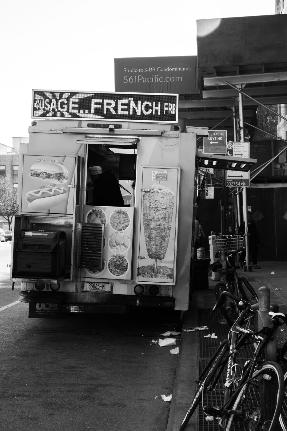 a food truck parked on a street in brooklyn