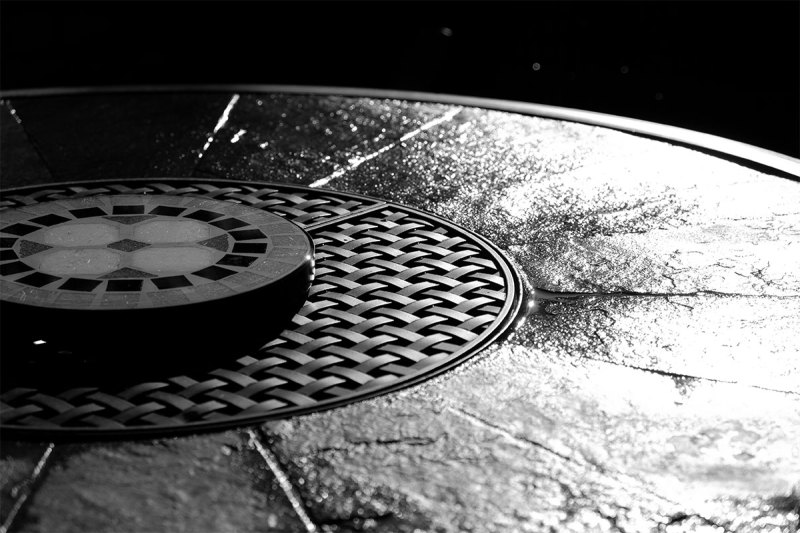black and white photogrraphy of web tabletop after rain