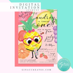 fruit party invitation, pineapple invitation