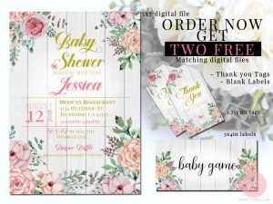 rustic floral baby shower invite 1