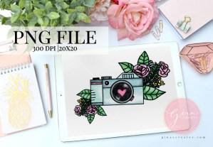watercolor floral camera illustration clipcart