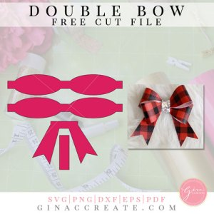 double hair bow template svg