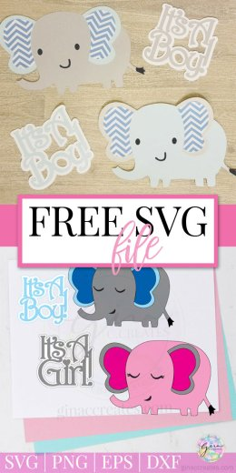 Download Free SVG Cut File   Baby Shower Elephant Props - Gina C ...