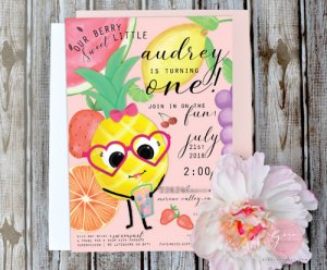 pineapple girl, berry sweet birthday invite