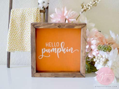 hello pumpkin orange holiday sign
