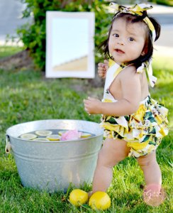 lemon romper baby photoshoot