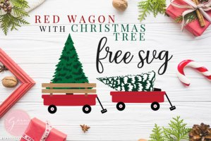 red wagon with christmas tree svg