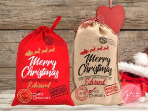 santa sack, santa's red gift bag free svg