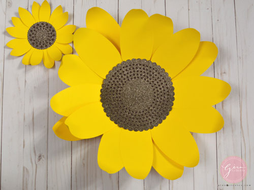 picture regarding Free Printable Sunflower Template identify Do it yourself Paper Sunflower with free of charge SVG template Gina C. Results in