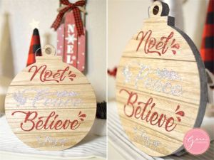 CRICUT HOLIDAY PROJECT IDEA WOOD GLITTER SIGN