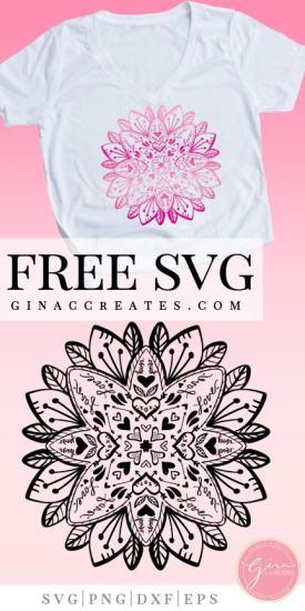 valentine's day mandala free svg cut file, valentine's day cricut crafts