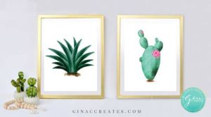 water color cactus printables wall art