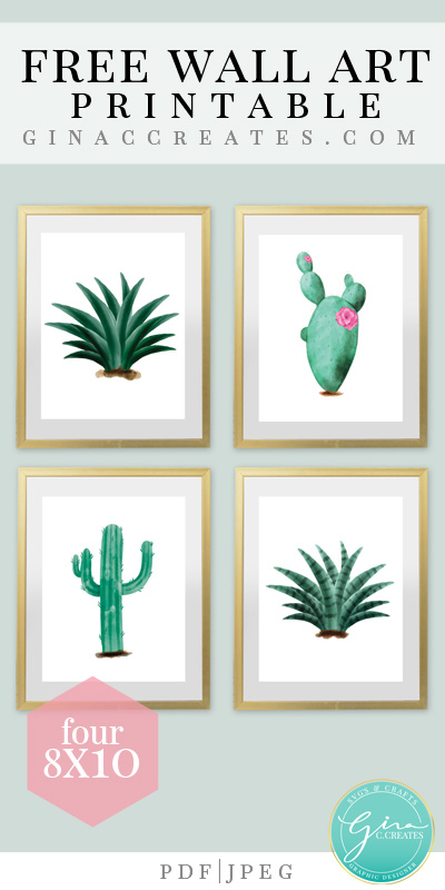 graphic regarding Free Printable Art identify Cactus Wall Artwork Totally free Printable Gina C. Results in
