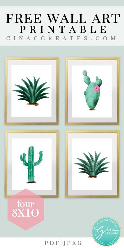 photograph relating to Free Printable Wall Art named Cactus Wall Artwork Totally free Printable Gina C. Generates