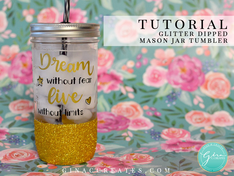 how to make a glitter dipped mason jar cup
