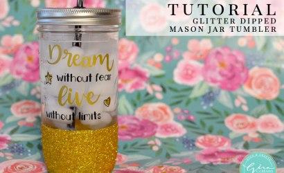 How to Make a Glitter Dipped Mason Jar Tumbler