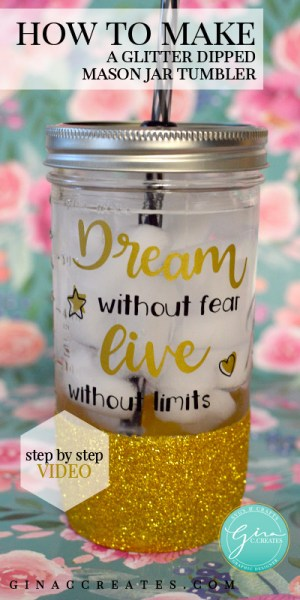 make a glitter dipped mason jar tumbler tutorial