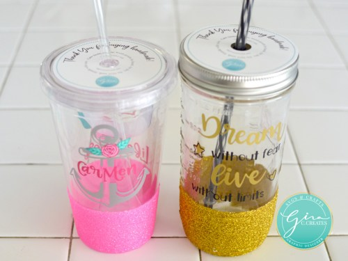 print and cut care instruction label for handmade glitter dipped tumblers
