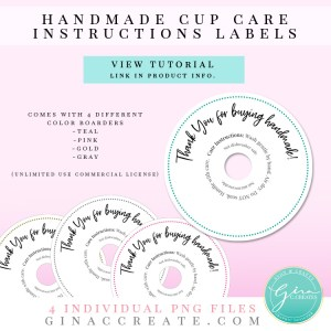 care instruction label for vinyl handmade cup