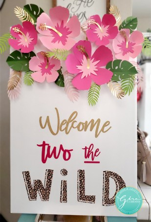 DIY welcome to the wild sign with pink paper flower craft