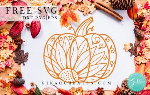 free svg pumpkin sunflower mandala, fall autumn cut file