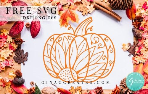 free svg pumpkin sunflower mandala, fall autumn cut file