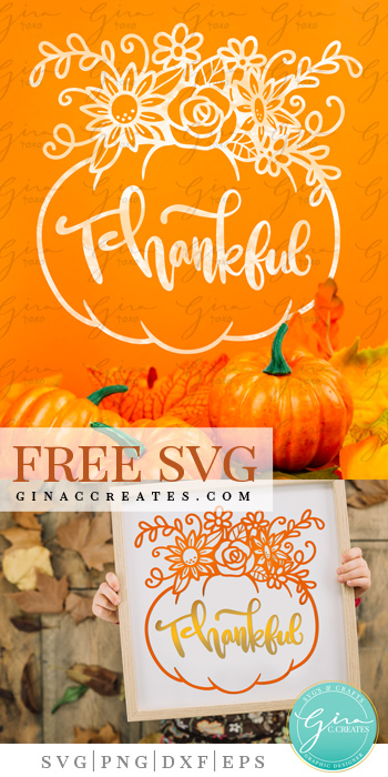 free svg thankful pumpkin with sunflowers