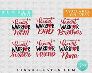 heart vwarrior family svg bundle