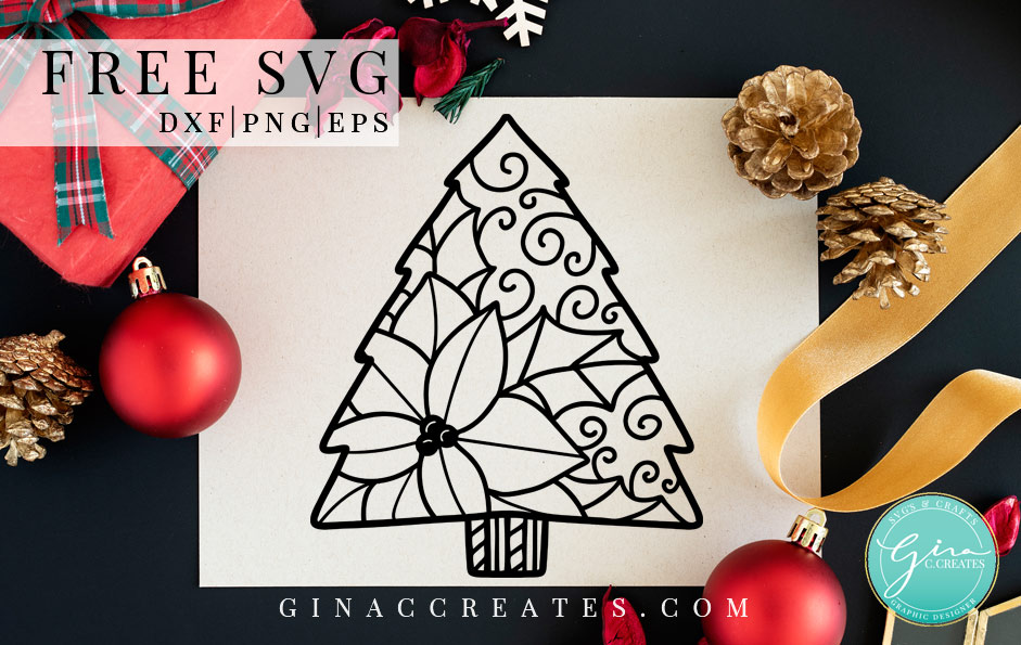 poinsettia Christmas tree free svg cut file