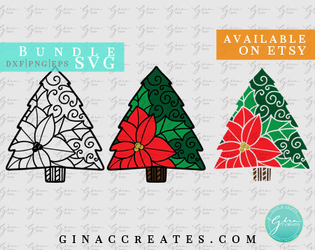 poinsettia Christmas tree svg bundle