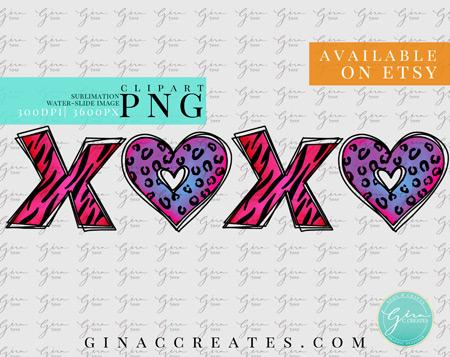 xoxo wild animal print png svg bundle