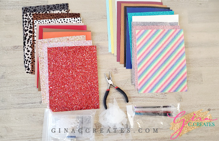 faux leather, glitter canvas, leopard leather sheets kit for diy cricut