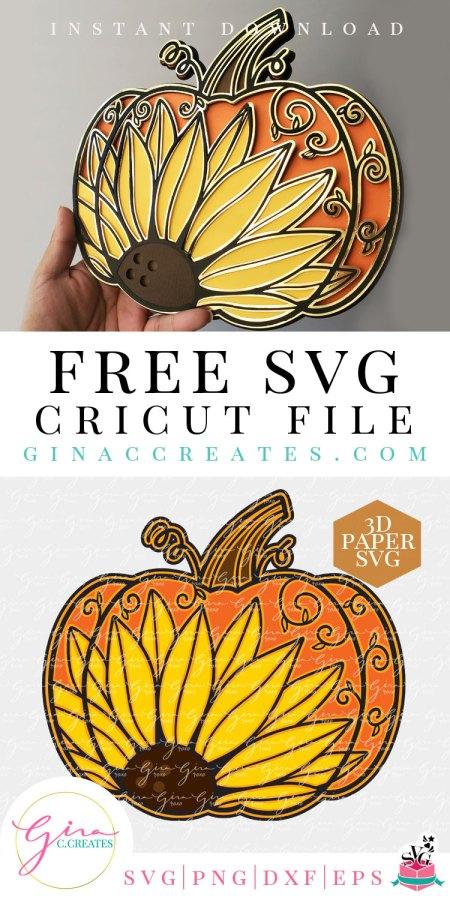 3d Sunflower Pumpkin Svg Cut File Gina C Creates