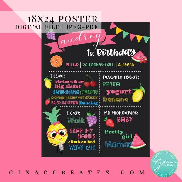 fruit pineapple party milestone poster